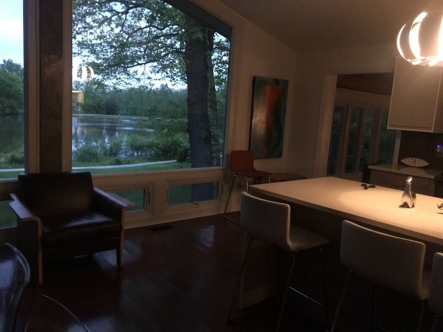 panoramic view of Lake from Grand Room and Kitchen