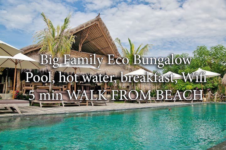 FAMILY BUNGALOW 6ppl, 5 min to beach, wifi, pool A - South Kuta - Huis