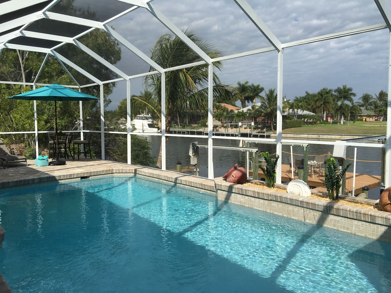 Relax at the pool and Canal of Cape Coral