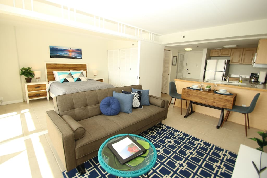 Newly Partially Renovated Clean Bright Unit with Great Ocean & Yacht Harbor View at Ilikai Apt. Bldg/Ilikai Hotel.