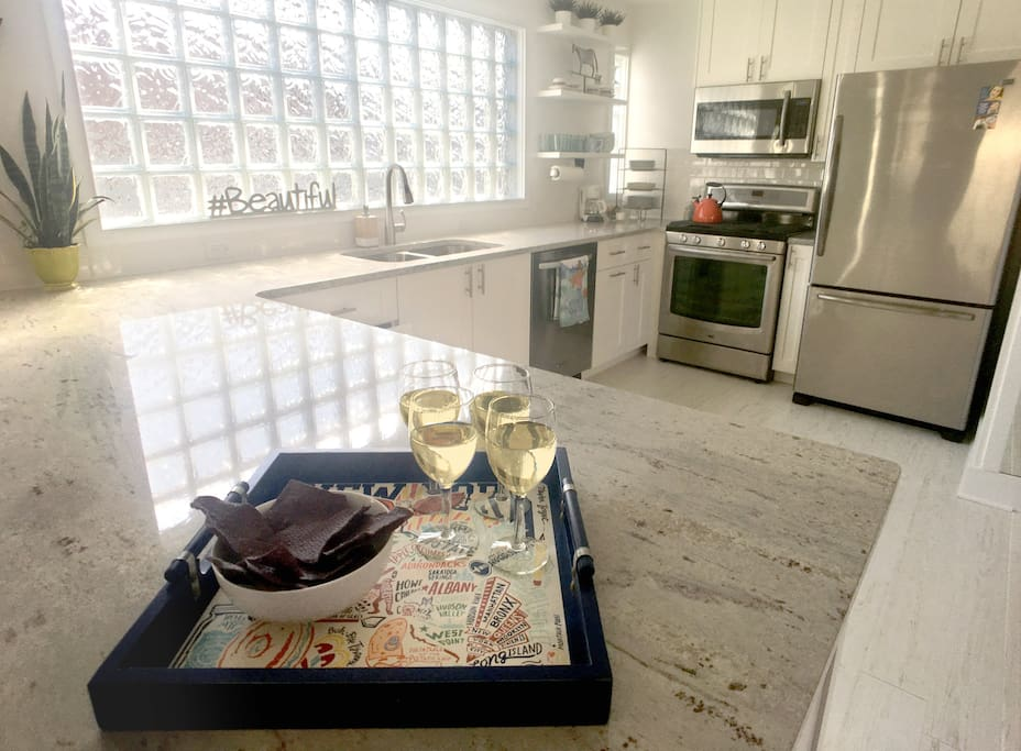 The newly remodeled kitchen, with its stainless-steel appliances, has everything you need to cook up a storm.
