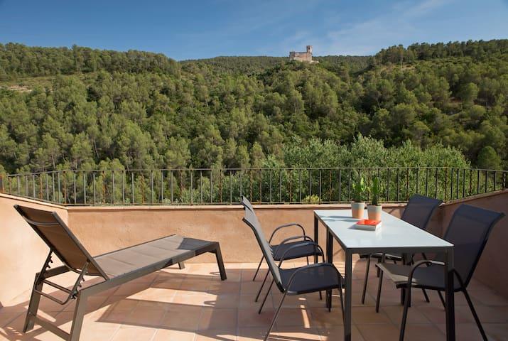 Can Morei - El Castell, apart. 4 personas, terraza