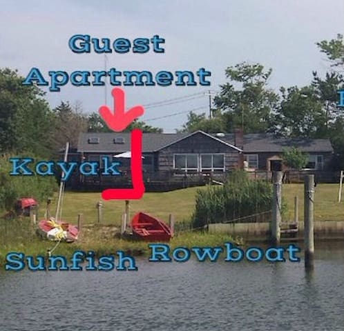 Waterfront Guest Apartment - near Hamptons - East Moriches - Flat