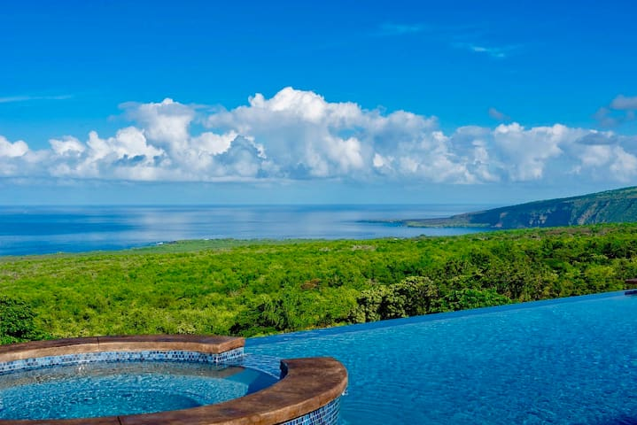 Endless ocean views, private pool & spa at this 6 bedroom home on coffee farm
