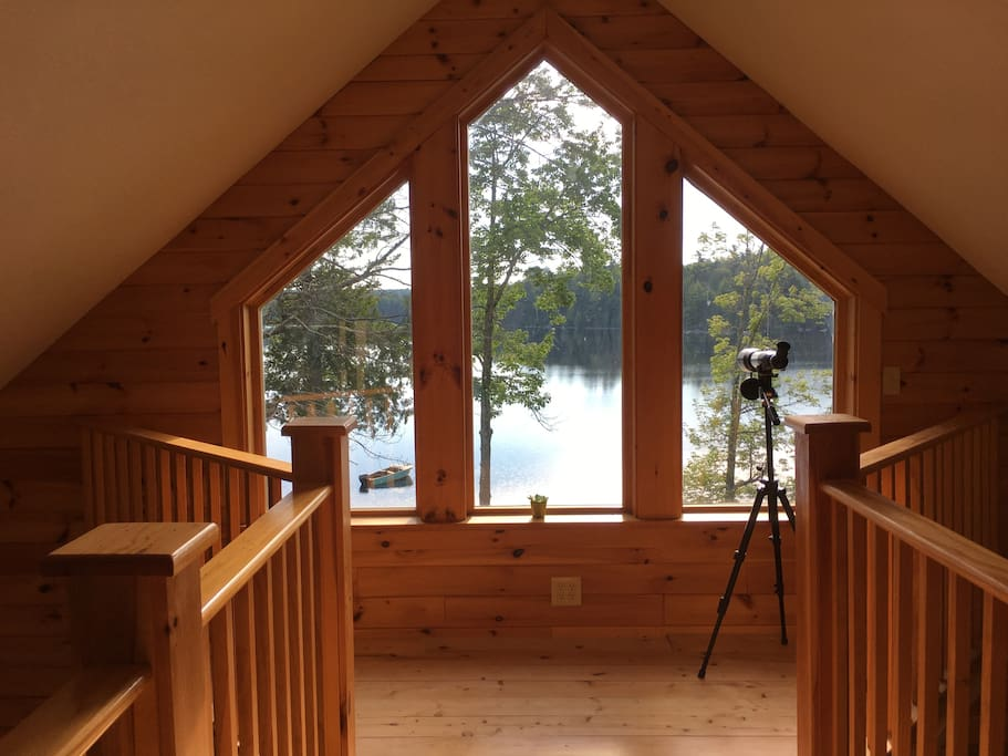 Upstairs catwalk with a lake view