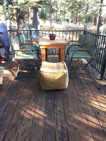 Back deck with outdoors sitting