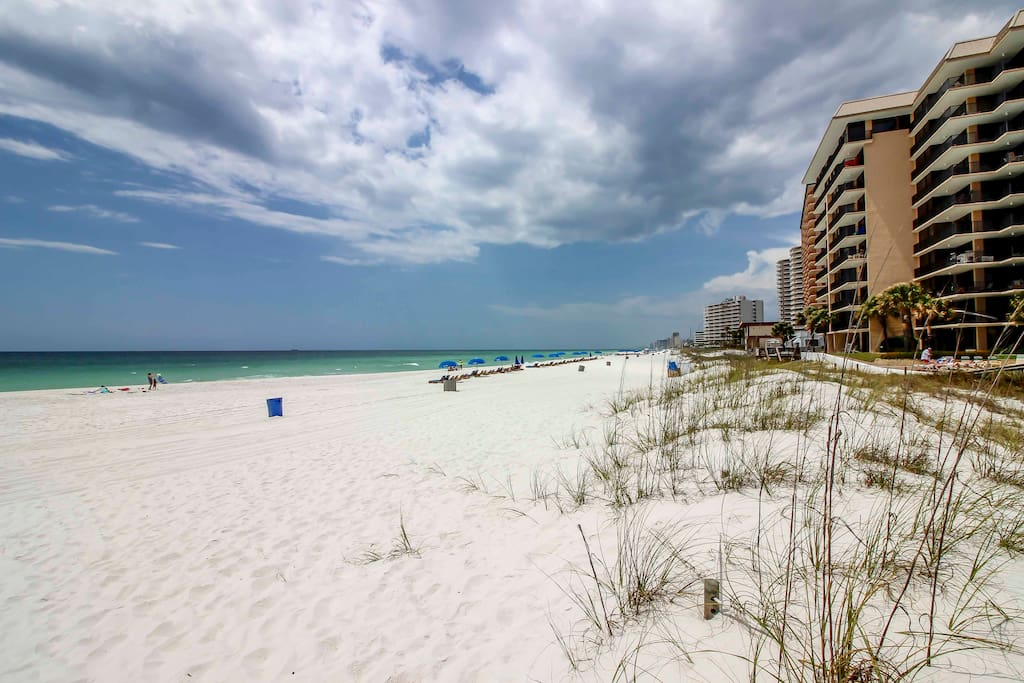 Walk  75 yards to find white sandy beaches and sparkling ocean waters!