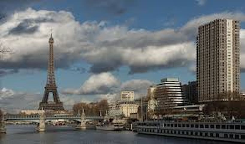 """You can see the Tower """"Tour de Mars"""" on the right, the apartment is on the 23d floor."""