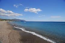 The spotless coast of beach Vatera-Lesvou.