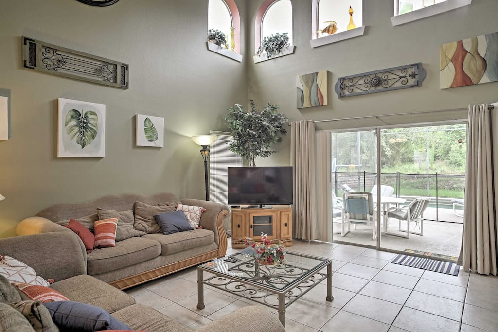 Relax in the cozy living room and enjoy a movie on the flat-screen cable TV.