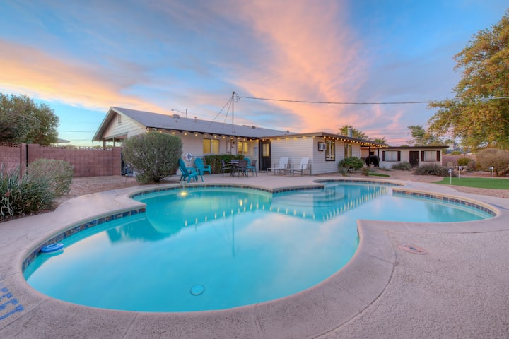 Old Town Getaway with Heated Pool & Putting Green