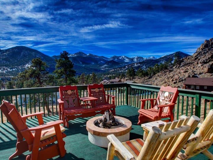Park Entrance Lodge-RMNP Views , Firepit, BB Court, 8 Person Hot Tub Reg #3030