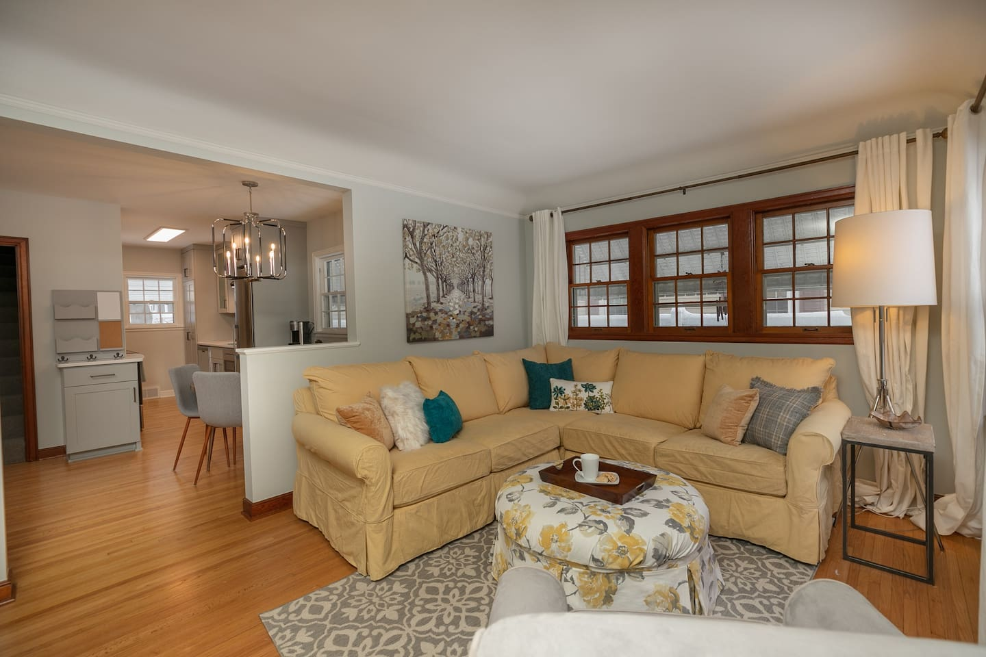 Welcome home!  One level living with easy access through kitchen, dining and living room, with two bedrooms and one bath, including laundry.