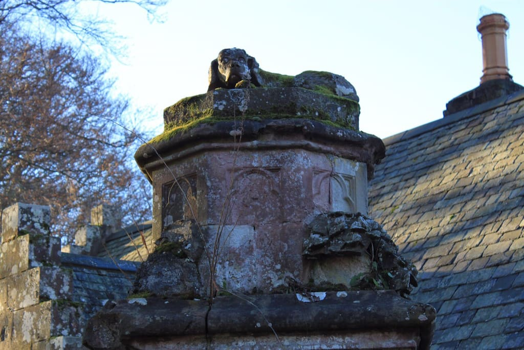 The sleeping dogs guard the gatehouse entrance