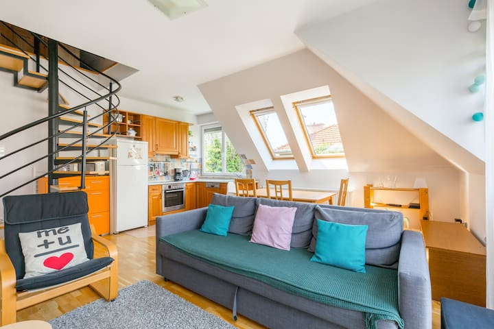 Child-friendly flat with garage in green Budapest