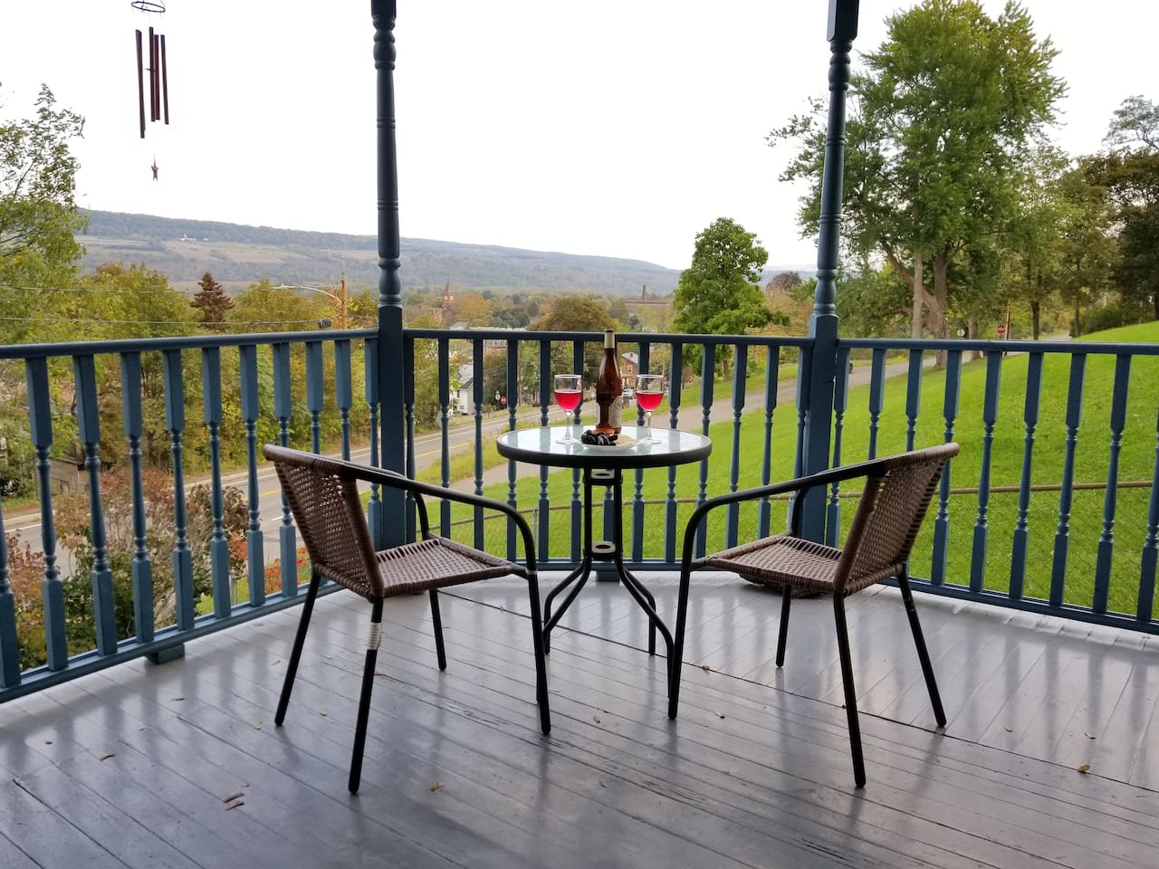 Our large front porch overlooking Watkins Glen