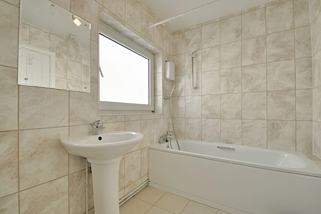 Modern bathroom, hot shower.
