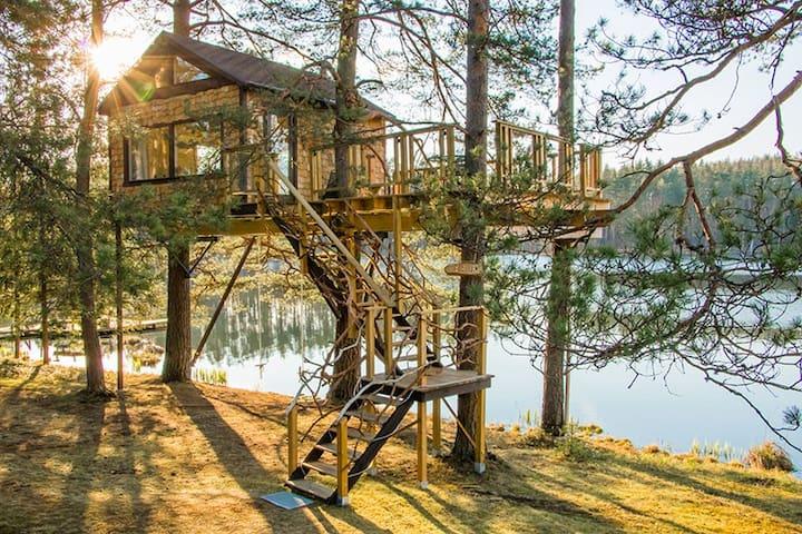 Treehouse Čiekurs(cone) by the lake. - Priekuļi - Rumah Pohon