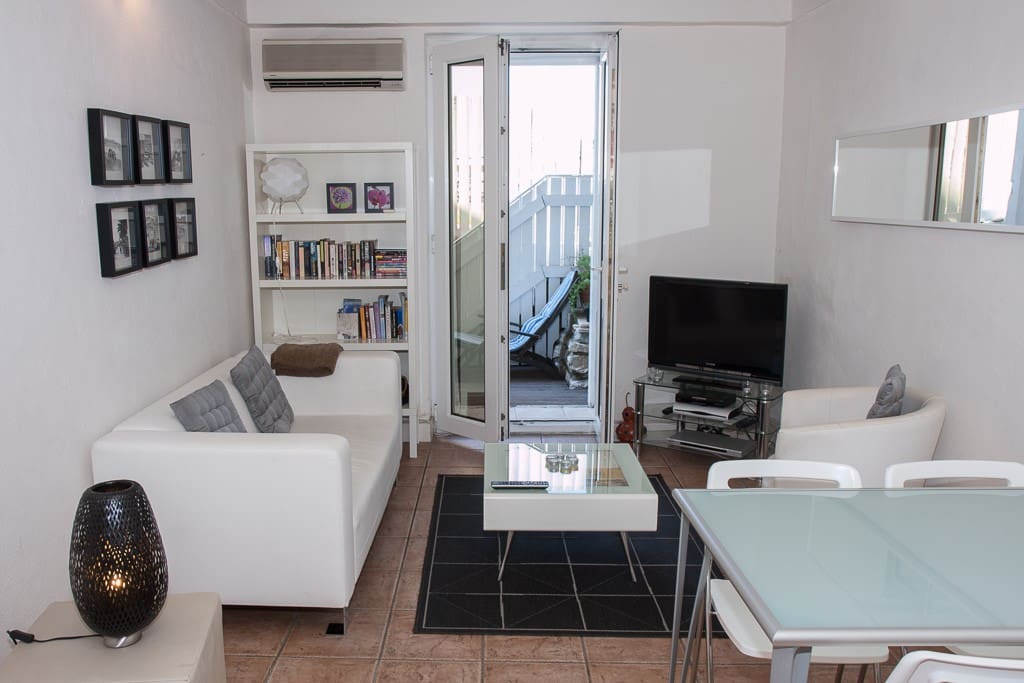 Living room with French doors to terrace