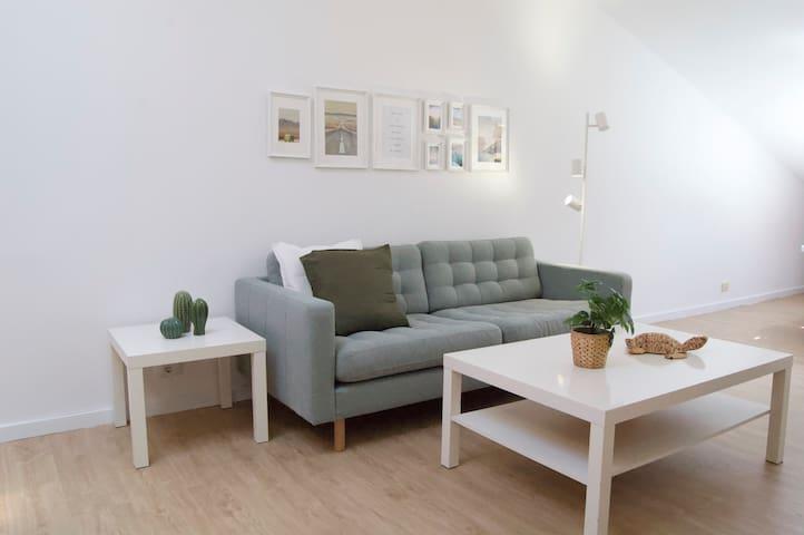 Salón: Amplio salón con sofá para 3 personas, mesa comedor con 3 sillas y sofá cama clic clac