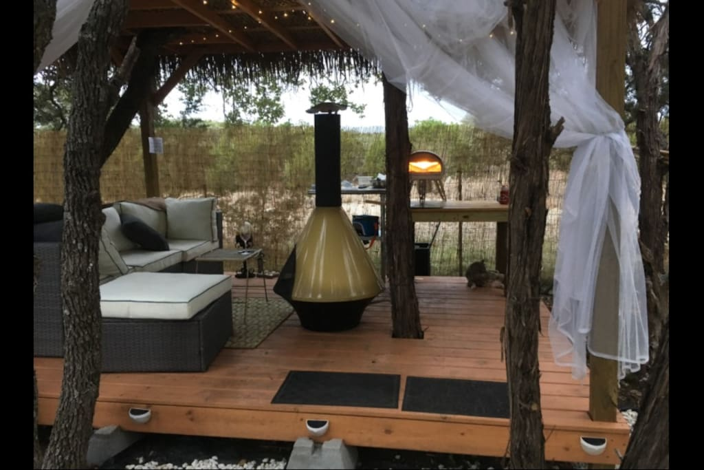 Relax in the Cabana which backs up to nature and has a 60s gas fireplace