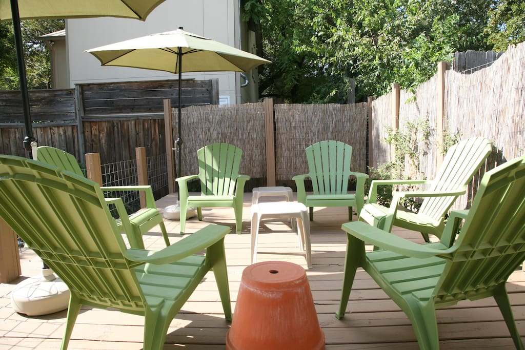 The back deck is getting a facelift this winter. So, there's no furniture right now.