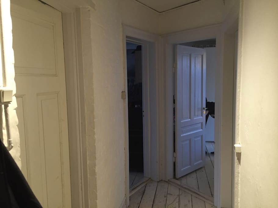 The hallway. To the right is the kitchen. Next door right is bathroom. The one at the end to the right is a room with double bed and space for clothes. Down to the left is the living room. To the very left is another room with double bed.