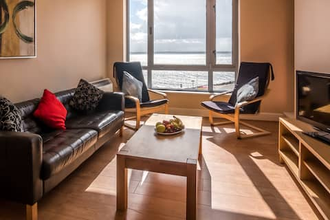 Living room in the apartment overlooks the bay
