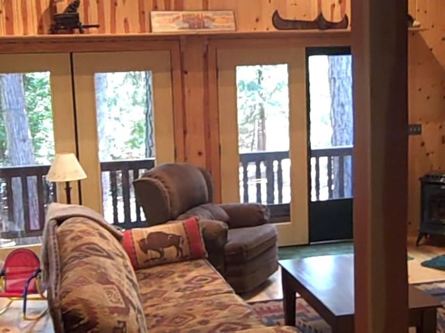 Cozy Great Room with awesome gas stove and views