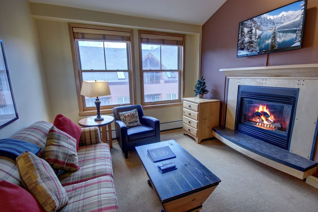 Gas fireplace and flat screen television.