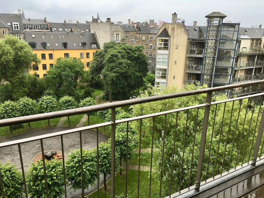 Enjoy our garden, the sunrise and the towers of Copenhagen from the large balcony.  If you are here in the summer you can watch the fireworks from Tivoli Wednesday and Saturday at 23 - We recommend the  while having a little something in your glass :-)