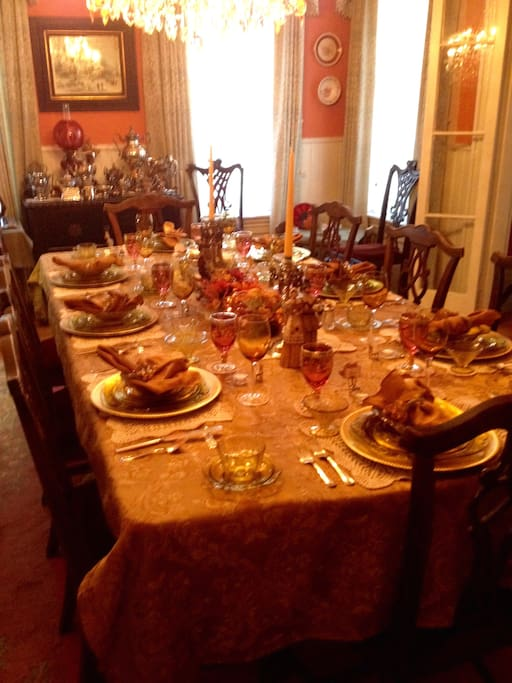 A full southern breakfast is served in our formal dining room. Decor changes seasonally.  This is our fall presentation