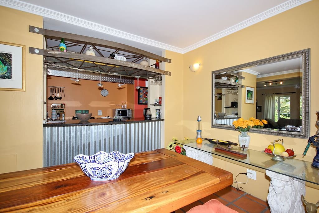 Open plan kitchen , large dining room