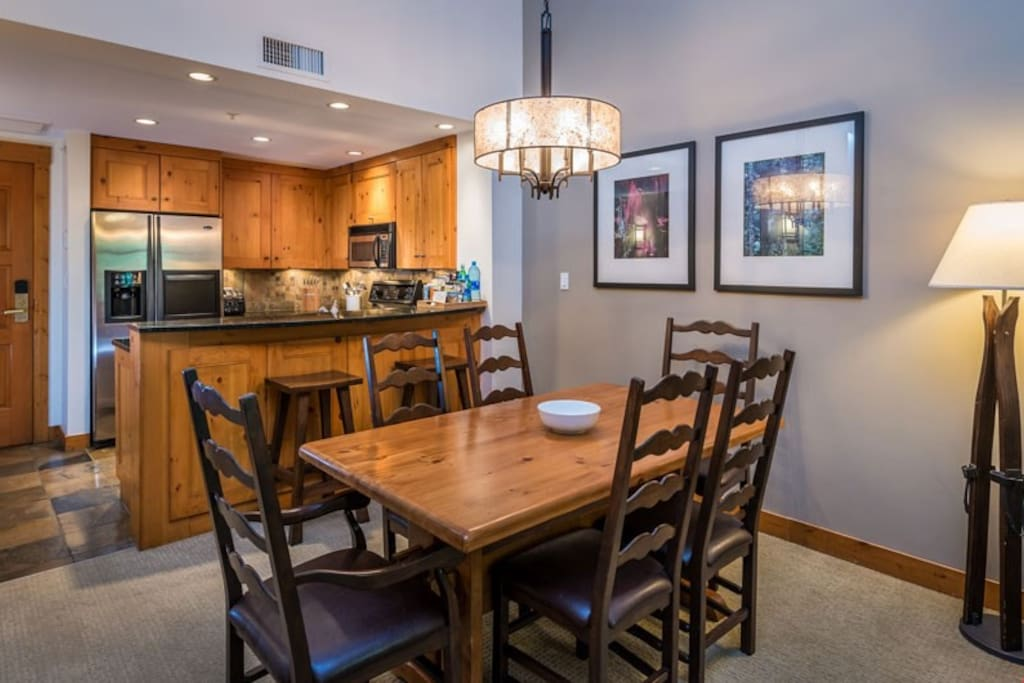 Entertain family and friends at the large dining table.