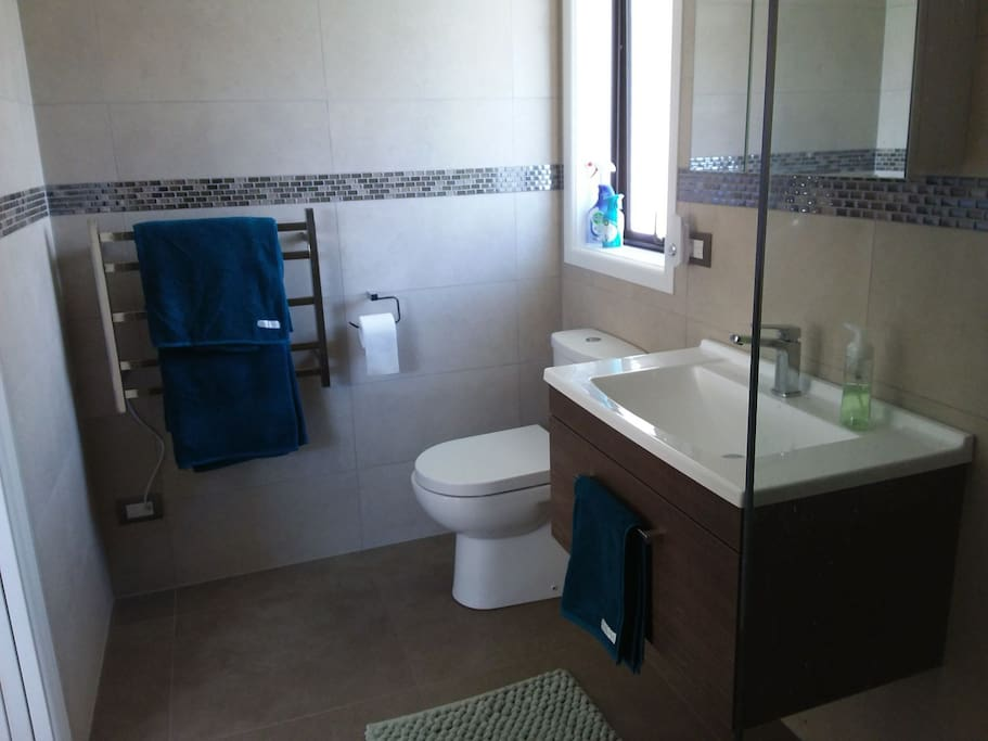 large onsuite with two person shower and heated towel rail. Hairdryer, soap and shampoo supplied.