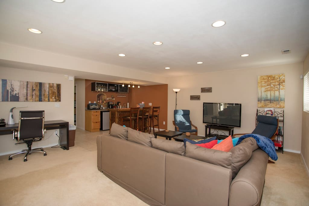 Settle into the large, main living area