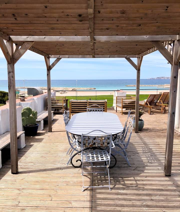 Appart 80m2 + toit terrasse panoramique à la plage