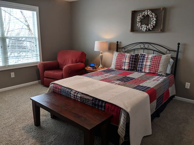 Queen size bed with plenty of room to spread out and relax.