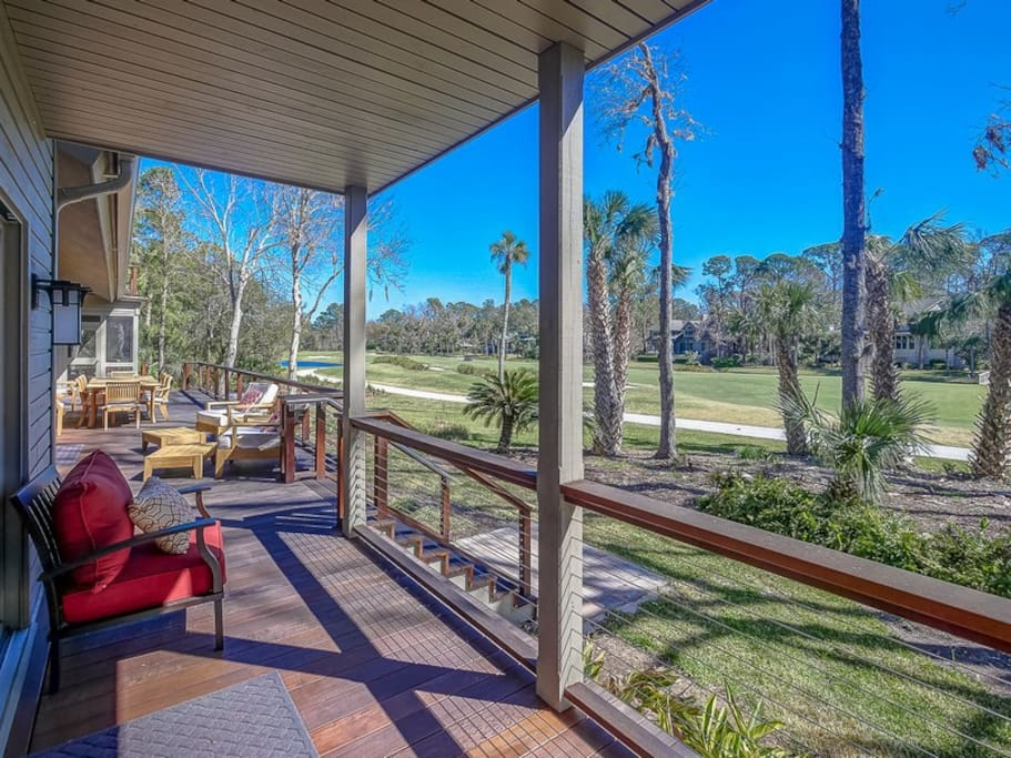 Back Deck Offers Beautiful Golf Course Views at 17 South Live Oak