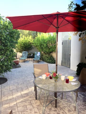 Enjoy your morning coffee or evening cocktail in your secluded, beautifully landscaped patio.