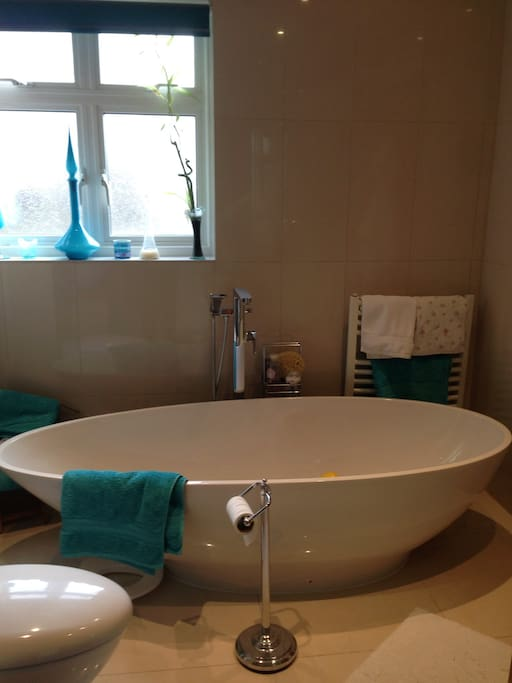 Large modern bath & shower room with double basins.