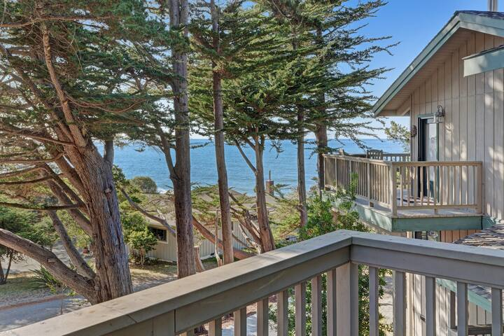 Premium Cleaned | Upscale ocean view studio w/ deck, grill & entertainment system - right in town!