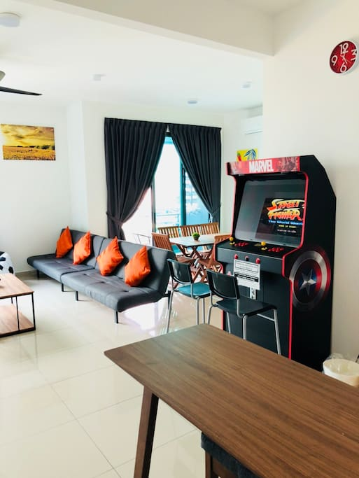 Living hall with gaming machine