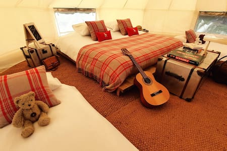 Bell Tent Glamping Near Ely with Swimming Lake
