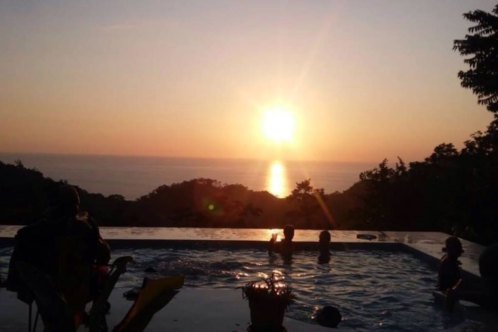 Enjoy sunset in the pool