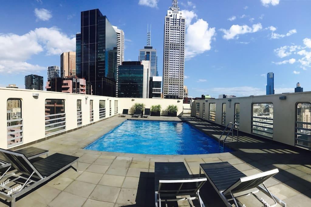 Heated rooftop pool, all year round. Stunning views of Melbourne.