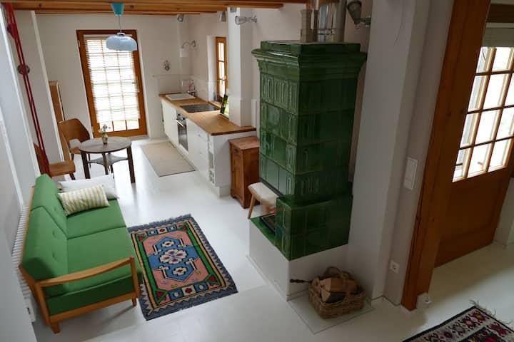 Sommerküche mit Blick auf Garten und Hohe Wand