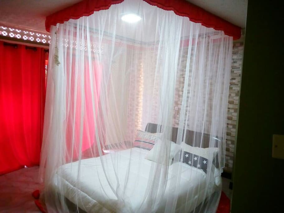 Bed with mosquito net protection
