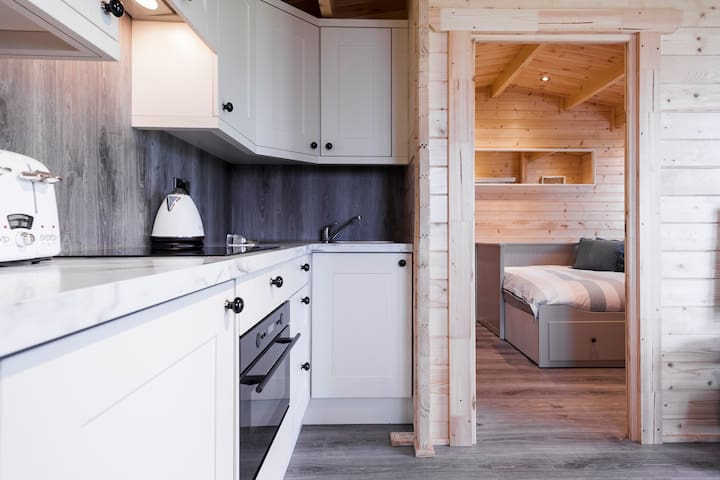 Kitchenette, Including Stove and Microwave.  Please note this is no dishwasher or washing machine or full oven.
