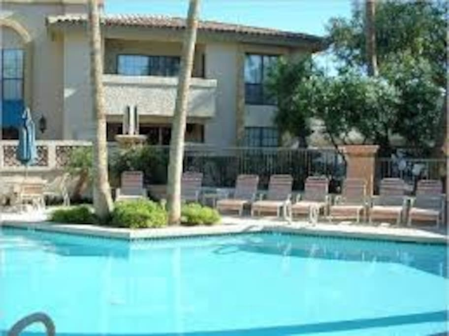 one of 3 heated pools with spas open 24-7 also bb q grills and bathrooms and showers.
